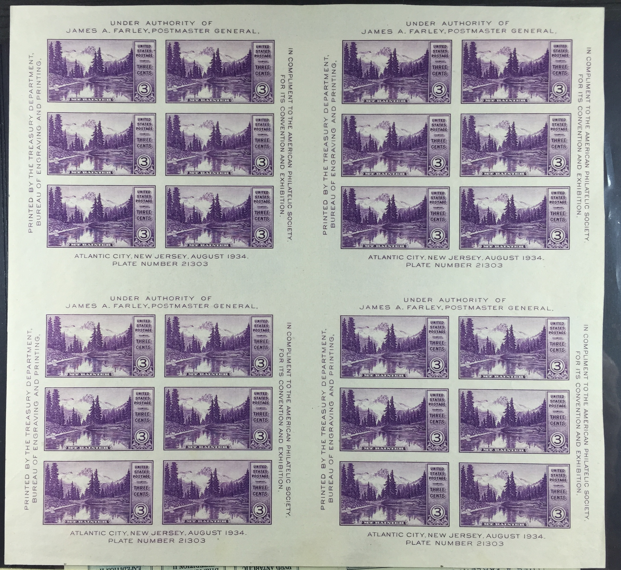 Scott 770 Block 24 (4 panes) Souvenir Sheet Farley Special Printings. MNH 3 cent Violet